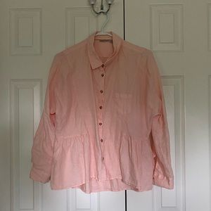 Linen peach blouse from Anthropologie